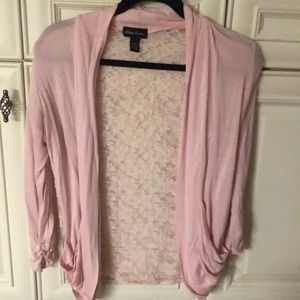 Sweaters - Light pink lace cardigan